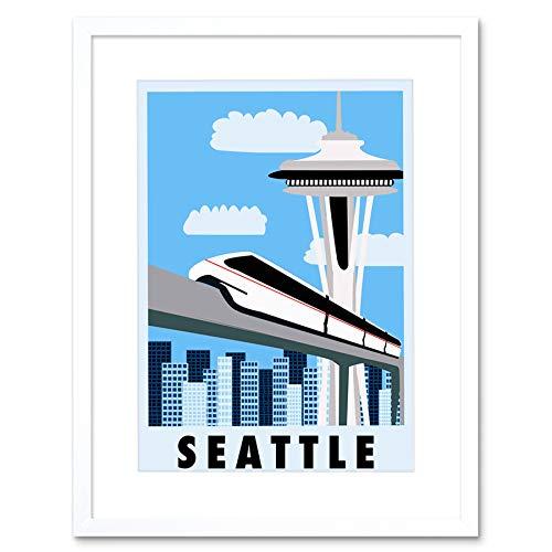 TRAVEL SEATTLE WASHINGTON MONORAIL SPACE NEEDLE FRAMED ART PRINT B12X12376 - Monorail, Space Needle