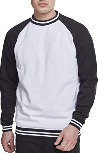 Urban Classics Herren Contrast College Crew Sweatshirt, Mehrfarbig (Wht/Blk 00224), L College-pullover Sweatshirt