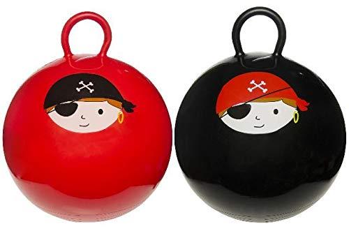 wuselwelt 4745, ROTER Kinderhüpfball 45 cm, Piratendesign; Kinder Hüpfball, Springball, Macht Nicht nur Spass, trainiert auch gleichzeitig