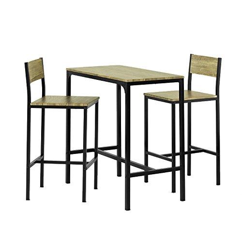 SoBuy Juegos de muebles Altas, Mesa de cafetería, 3 Piezas Set de Balcón, Set de bar, OGT03, ES