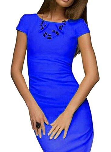Bigood Robe de Soirée Femme Eté Manche Courte Cocktail Cérémonie Mariage Elégant Bleu