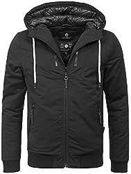 Navahoo Herren Winter Jacke leichte sportliche Jacke robust wasserabweisend Winddicht B623 [B623-Hunter-Schwarz-Gr.L]