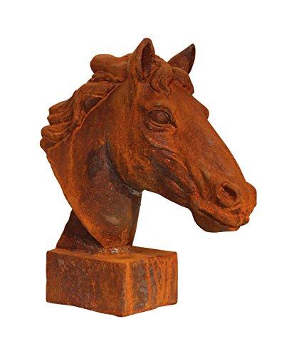 Skulptur Statue Figur Pferd Eisen Pferdekopf sculpture iron horse Büste Garten -