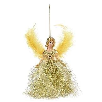 Árbol de Navidad colgante de muñeca, tela ángel decoración de, plástico, Amarillo árbol de Navidad, Mini ángel colgante de árbol de Navidad