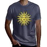 HarryShort T-Shirt à Manches Courtes pour Hommes Sun Drapeau de l'Uruguay T-Shirt imprimé Vêtements de Travail T-Shirt d'extérieur T-Shirt en Coton
