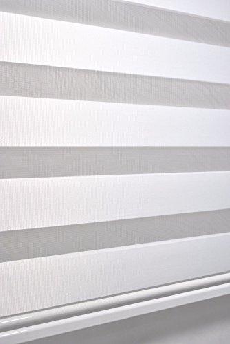 Store Double 140 cm de Large 170 cm de Long - Couleur : Blanc avec lestage Large + Cassette fermée + chaîne Alternative au Rideau ou Store plissé Duo