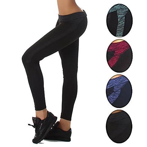 Damen Leggings Sport Tights schwarz seitliches farbiges Muster in verschiedenen Farben elastischer Bund dehnbar blickdicht Yoga Workout Leggins Farbe Schwarz, Größe M