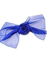 Lovely Soft Feel Long Plain Chiffon Scarves Wrap Stole Neck tie Choir Scarves (Royal Blue)