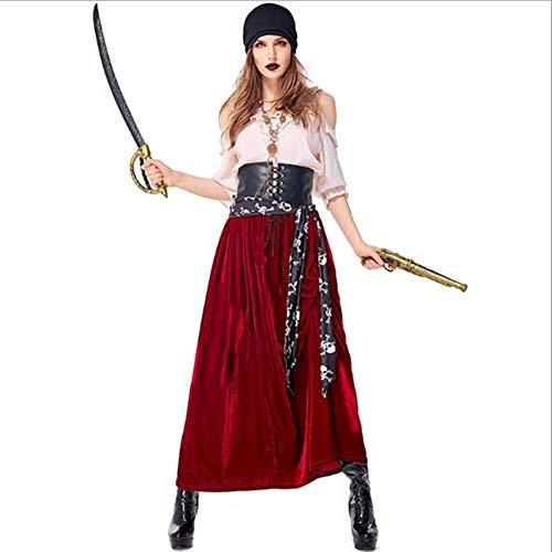Tjtcs Piraten-Kostüm-Abend Karneval Leistung Sexy Erwachsene Halloween-Kostüm-Kleid-Qualität Kapitän Partei-Frauen Cosplay,M