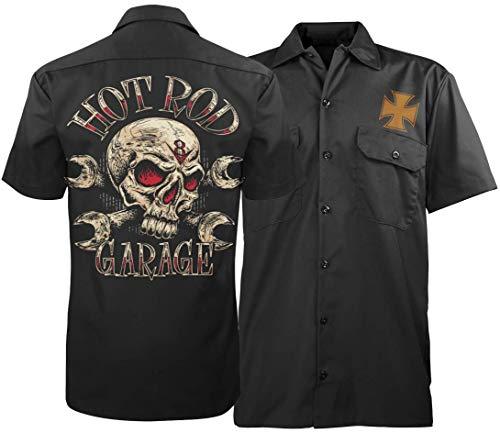 Hot Rod Garage (Hot Rod Garage Herren Totenköpf Mechaniker Hemd Shirt (XL))