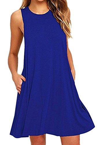 OMZIN Sommer Ärmellos Solid Knielang Tunika T-Shirt Kleid für Damen Blue XL