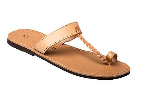 Herren Echt Leder Sandale Jesus Sandalette Sandalen Natur beige Original Kreta 46