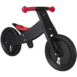 BIKESTAR® Premium 30.5cm (12 pulgadas) Bicicleta sin pedales para niños de 2 años con el marco ajustable ★ Edición de madera natural ★ Negro ★ Crece a la vez que su hijo!