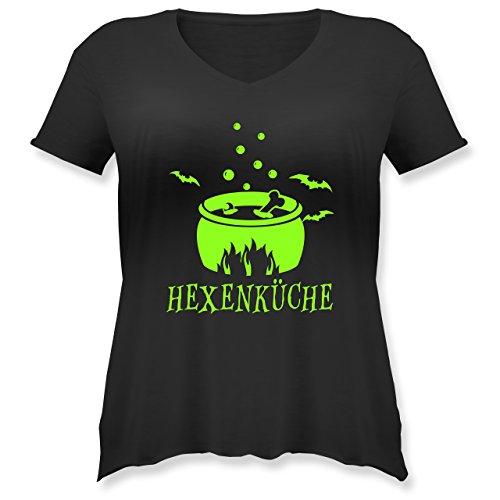 Küche - Hexenküche - S (44) - Schwarz - JHK603 - Weit Geschnittenes Damen Shirt in Großen Größen mit V-Ausschnitt