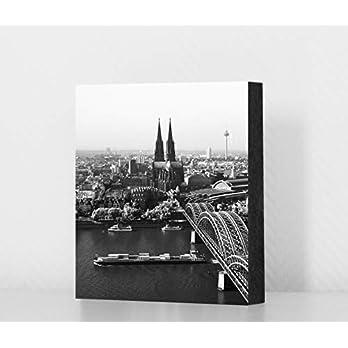 Köln Bild – Köln von oben (schwarzweiss), 10x10cm, MDF, Geschenk, Deko, Kölngeschenk, Cologne