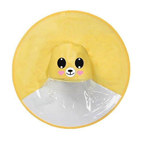 FORH Kind Regenjacke Netter Regenmantel für Männer und Junge Mädchen Regen Mantel Kleine gelbe Ente Regenschirm Hut Poncho Regencape Regenkleidung (S, Gelb B)