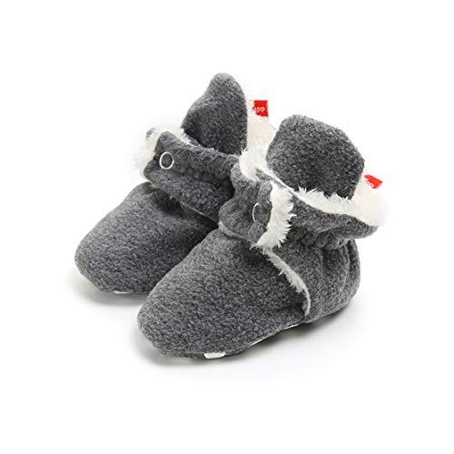TMEOG Unisex-Baby Neugeborenes Fleece Booties Bio Baumwoll-Futter und rutschfeste Greifer Winterschuhe (6-12 Monate, A_Grau)
