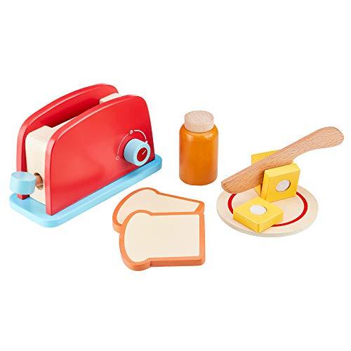 olz Toaster Spielzeug 7 Stück Pretend Food Set, mit Brot und Butter Bildungsrolle Spielset Alter 3+ ()