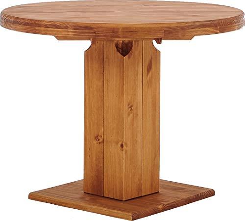 Brasilmöbel Säulentisch Rio UNO Rund 100 cm Honig Tisch Esstisch Pinie Massivholz Esszimmertisch Holz Küchentisch Echtholz Größe und Farbe wählbar