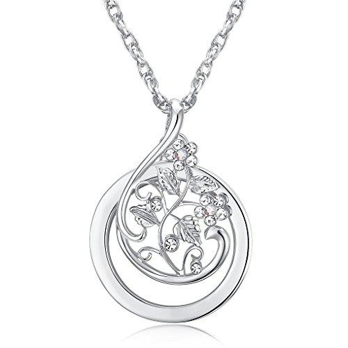 Lupe Halskette Blumen Strass Necklace Vergrößerung 2 x Anhänger Retro Anhänger Damen Burnish...