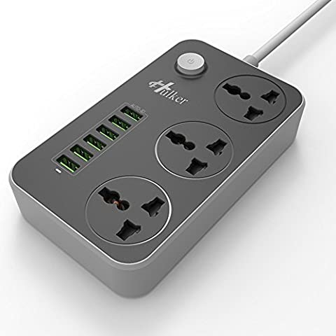 HULKER Power Strips with USB ports Version.2.0 3 Way Outlets 6 USB Ports Surge Protection Universal Socket with 2M Extension cord USB charger With Fuse and Shutter ,Extension Lead UK 3 PIN
