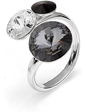 Spark Swarovski Elements Damen Ring 925 Sterling Silber 3 Swarovski Kristalle rund, variable Ringgröße