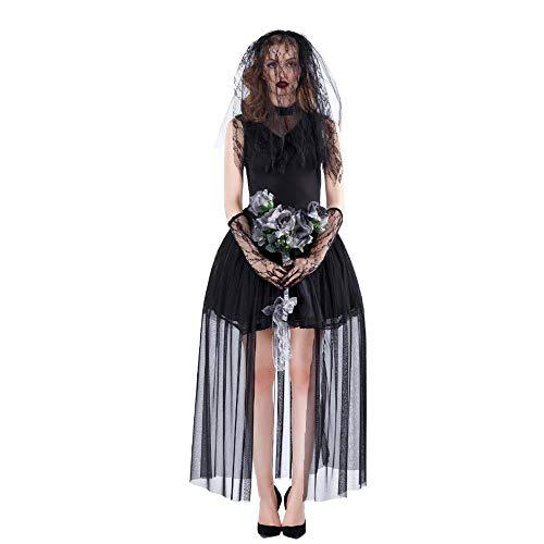 Bride Corpse Kostüm Dead - Z&X Ghost Bride - Dark Ghost Zombie Hexenkostüm Halloween Kostüm Corpse Bride Deluxe Schwarzes Kleid mit Zerrissenem Effekt und Schleier Dead Wedding Dress,XL