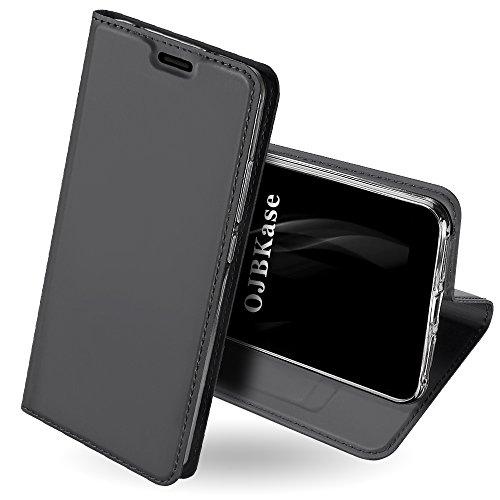 OJBKase Funda Xiaomi Redmi S2, Premium Piel sintética Billetera Carcasa Protectora Cartera y Funda Cubierta Interior TPU Protección De Cuerpo Completo Case para Xiaomi Redmi S2 (Gris Negro)