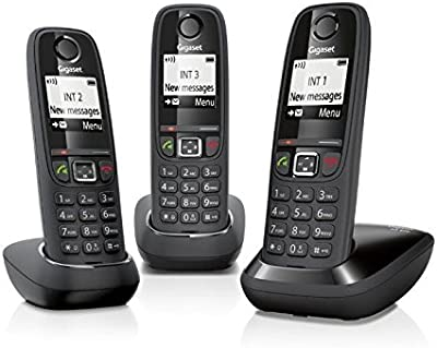 Gigaset AS405 - Teléfono inalámbrico (GAP, DECT, CLIP, 100 contactos) color negro - kit de 3 unidades