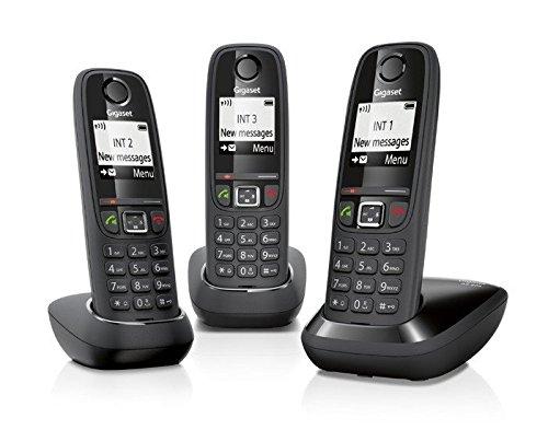 Gigaset-AS405-Telfono-inalmbrico-GAP-DECT-CLIP-100-contactos-color-negro-kit-de-3-unidades