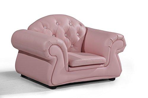 Chester Armsessel für Kinder aus italienischem Leder, rosa