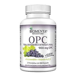 Biomenta OPC – con Estratto di semi d'uva 95% + ASTAXANTINA + VITAMINA A + VITAMINA C + VITAMINA E - 150 vegano Antiossidanti Pastiglie