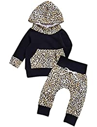 K-youth Conjuntos Bebé Niño Niña, Ropa Bebé Recién Nacido Estampado Leopardo Sudadera con Capucha Niña Tops + Pantalones a Camuflaje Conjuntos de Ropa de Invierno 0-24 Meses