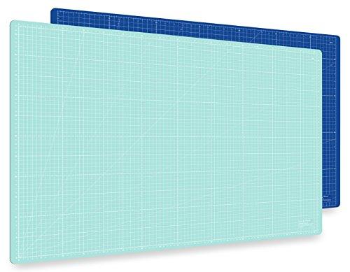 Guss & Mason Selbstheilende Schneidematte A1 in Blau, Pink, Grün. Perfekt zum Nähen, Basteln und Patchworken. 90x60 beidseitig Bedruckt. cm und inch Angabe