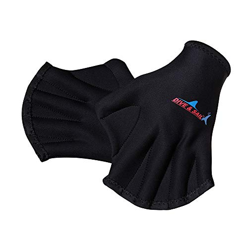 BUY-TO Schwimmvlies Tauchen Training Hand Flippers Schwimmen Finger Frosch Schwimmvlies Handschuhe Paddel Gute Elastizität Langlebig Hohe Qualität,Black