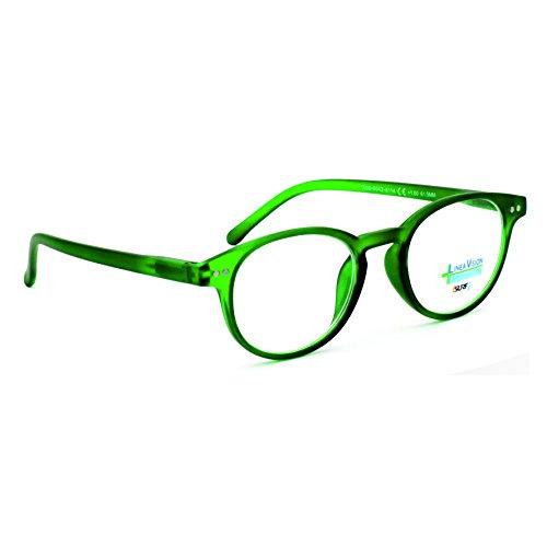 Occhiali da vista per lettura marca isurf linea vision 2180 rotondi round colorati unisex da vicino presbiopia (+1,00, verde)