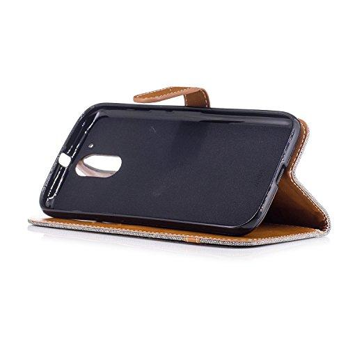 Hülle für Moto G4, Tasche für Moto G4 Plus, Case Cover für Moto G4 Plus, ISAKEN Farbig Blank Muster Folio PU Leder Flip Cover Brieftasche Geldbörse Wallet Case Ledertasche Handyhülle Tasche Case Schut Leinen Grau