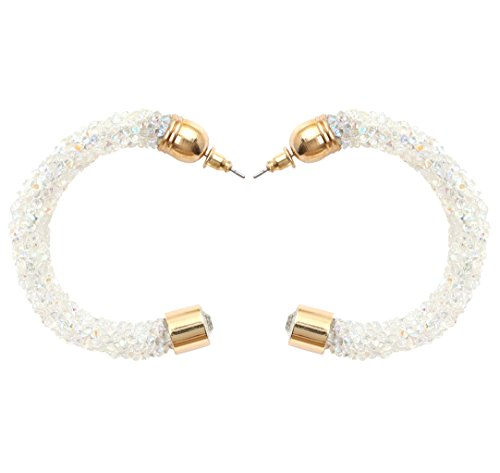 YouBella Fashion Jewellery Summer Special Crystal Hoops Stylish Fancy Party Wear Earrings for Girls and Women (White)