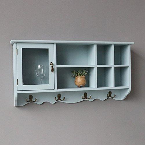 BGCG Massivholz-einzelne Tür-Herz-förmige dekorative Wand-Kabinette, hängende Kabinette, amerikanische Wohnzimmer-Küchen-Balkon-hängende Kabinette, Küchenschränke Hängeschränke ( Farbe : A - Holz-speicher-kabinette