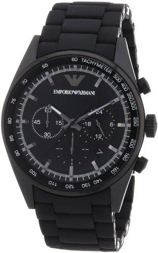 Emporio Armani AR5981 - Reloj cronógrafo de cuarzo para hombre, correa de acero inoxidable color negro