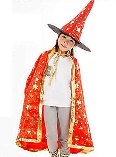 Zauberer Lehrling Kostüm - Lovelegis (Roter) Mantel + Hexenhut - Hexe - Zauberer - Zauberer für Kinder - Kostümverkleidung Zubehör Karneval Halloween Cosplay - Mit goldenen Sternen verziert
