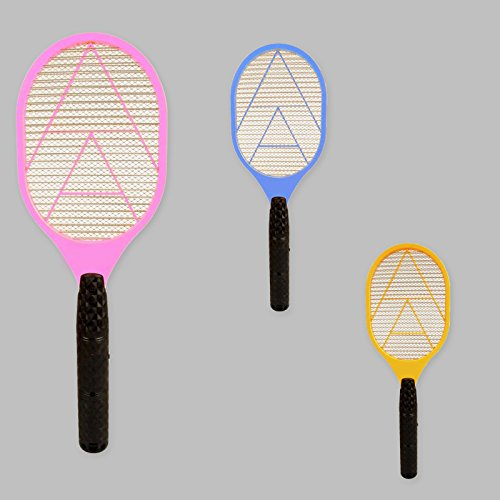 DRULINE Elektrische Fliegenklatsche Insektenfalle Fliegenfänger Insektenvernichter BUNT (3er Set)