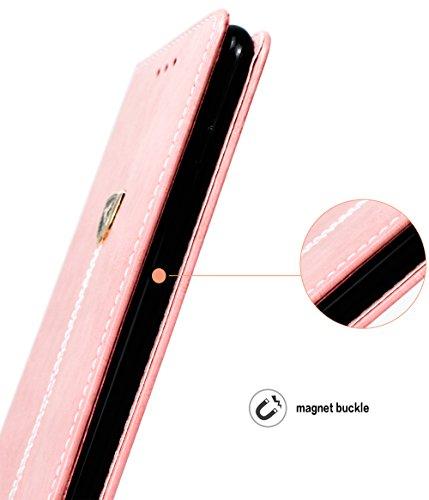 Coque iPhone 7 Plus, Mobest Étui Housse en Cuir iPhone 7 Plus, Cozy hut PU Cuir Flip Magnétique Portefeuille Etui Housse de Protection Coque Étui Case Cover avec Stand Support Avec des Cartes de Crédi Pigeon rose
