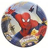 Procos 85152–Platos Papel Ultimate Spider Man Web Warriors, Ø20cm, 8piezas, rojo/azul/azul