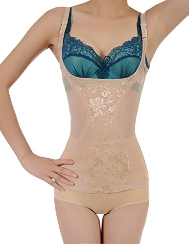 7800eec67d2e94 Shymay Women s Shapewear Open Bust Seamless Tummy Slimming Firm Control Cami  Shaper