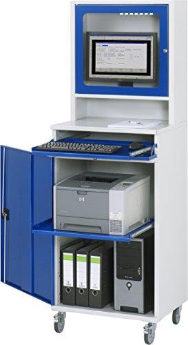 RAU Computer-Schrank, Metall, lichtgrau / enzianblau, 650 x 1895 x 520 cm