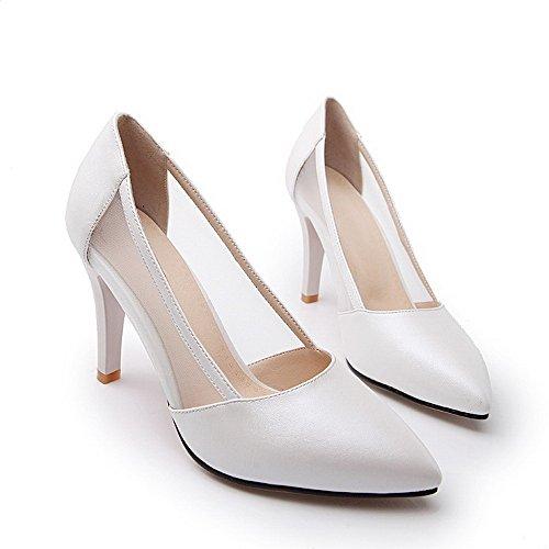 AgooLar Damen Weiches Material Spitz Zehe Hoher Absatz Ziehen auf Rein Pumps Schuhe, Silber, 32