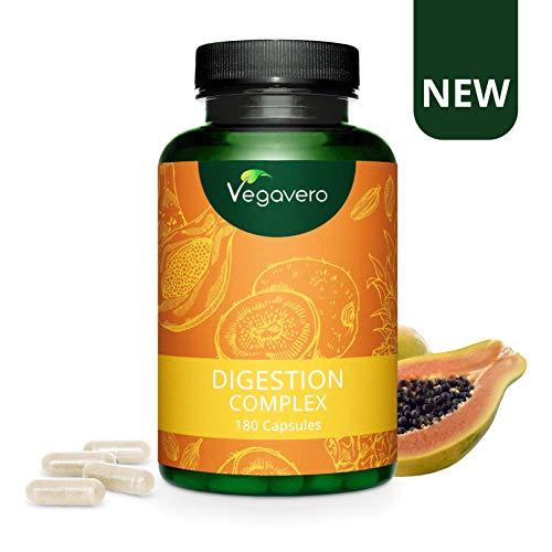 INTEGRATORE DIGESTIONE Vegavero | Con Enzimi Digestivi | Gonfiore e Flatulenza | Con Papaina, Bromelina, Kiwi, Cumino e Cardamomo | 180 capsule | Vegan