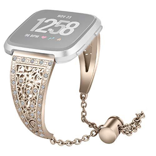 Dkings Kompatibel für Fitbit Versa Bändern, Edelstahl Versa Band Ersatz-Metallband für Fitbit Versa, Modedesign Ersatz Smart Watch Band Armband mit Kristall Strass Bling für Fitbit Versa (Gold) Bling Headset
