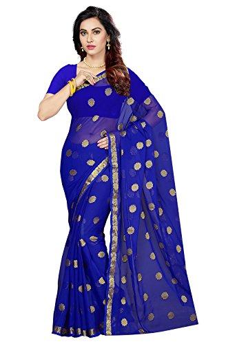 Ishin Women'S Chiffon Saree With Blouse Piece (Ishin-Tt-25021_Blue)